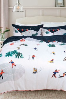Waffle Retro Ski Scene Duvet Cover and Pillowcase Set