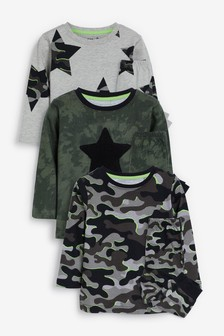 Khaki 3 Pack Camo Star Pyjamas (9mths-12yrs)