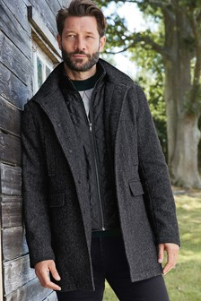 Charcoal Funnel Neck Coat