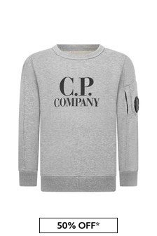 CP Company C.P. Company Boys Grey Cotton Sweater