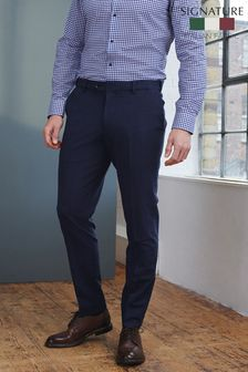Navy Slim Fit Signature Motionflex Puppytooth Suit: Trousers