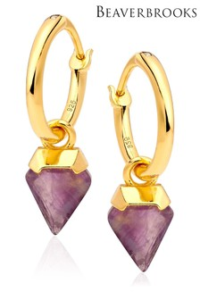 Beaverbooks Gold Plated 18ct Amethyst Drop Earrings