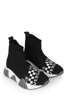 Boys Black Branded Sock Trainers