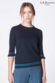 L.K. Bennett Blue Allie Silk And Cotton Sweater