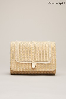 Phase Eight Neutral Rita Raffia Clutch Bag