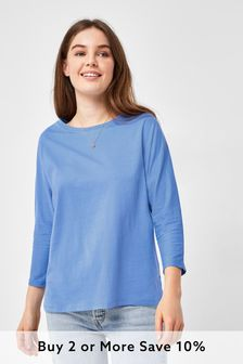 Pale Blue 3/4 Dolman Sleeve Top