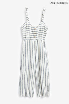 Accessorize Natural Woven Stripe Jumpsuit