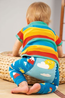 Frugi Organic Knitted Leggings In Cloud And Rainbow Design