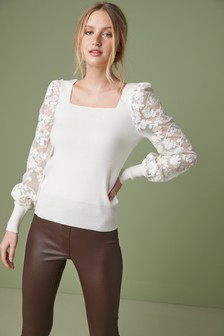 Ecru Lace Sleeve Jumper