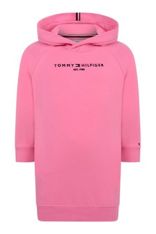 Girls Pink Cotton Logo Sweater Dress