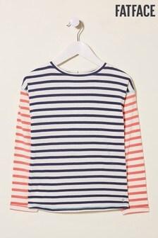 FatFace Blue Drop Shoulder Breton T-Shirt