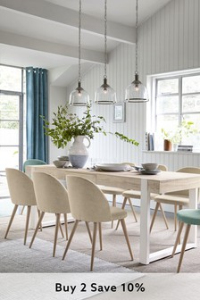 White Jefferson Rustic 6-8 Extending Dining Table
