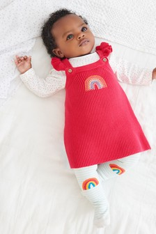 Pink Knitted Rainbow Pinafore Dress (0mths-2yrs)