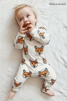 Tobias & The Bear White Just Call Me Fox Organic Cotton Classic Romper
