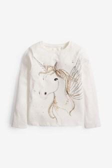 Ecru Sequin Unicorn Long Sleeve T-Shirt (3-16yrs)