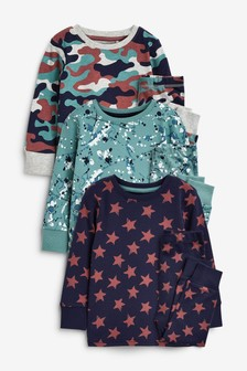 Multi Camo/Splat 3 Pack Snuggle Pyjamas (9mths-12yrs)