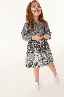 Charcoal GOTS Organic Mixed Print Tier Dress (3mths-7yrs)