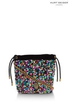 Kurt Geiger London Pink Kensington Drawstring Sequin Bag