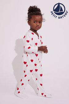 Petit Bateau White Heart Sleepsuit