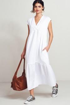 White Woven Mix Short Sleeve Dress