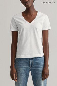 GANT White Original V-Neck T-Shirt