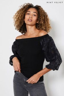 Mint Velvet Black Burn Out Woven Sleeve Jumper