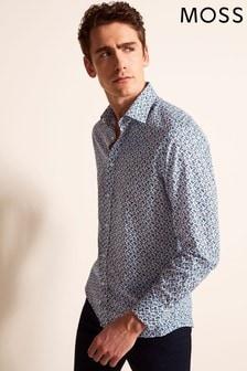 Moss 1851 Regular Fit Blue Single Cuff Floral Print Shirt