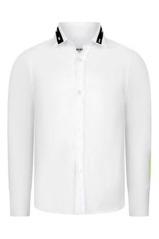 Boys White Cotton Logo Shirt