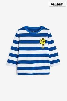 Blue/White Stripe Long Sleeve Jersey Mr Happy T-Shirt (3mths-8yrs)