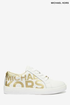 Michael Kors White Gold Logo Trainers
