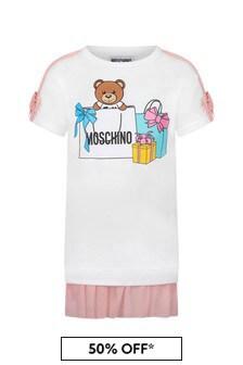 فستان قطن أبيض بناتي منMoschino