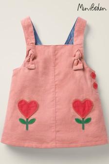 Boden Pink Cord Heart Pinafore Dress