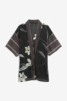 Navy Floral Print Kimono