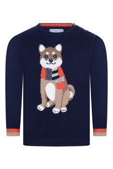 Baby Boys Navy Knitted Dog Jumper