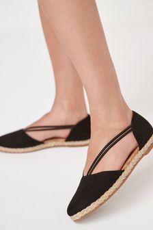 Black Closed Toe Espadrille Shoes