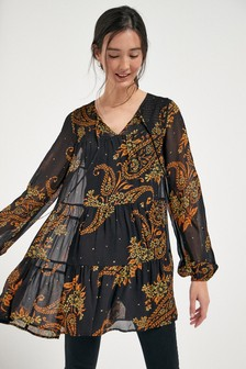 Bright Paisley Tiered Tunic