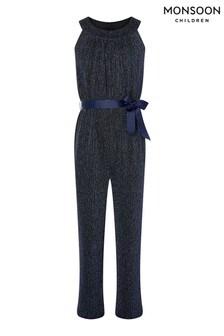 Monsoon Blue Halter-Neck Shimmer Jumpsuit