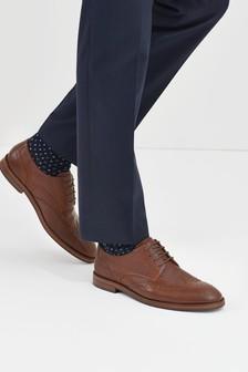 Brown Motion Flex Leather Brogue Shoes