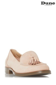 Dune London Pink Gimme Suede Tassel Loafers
