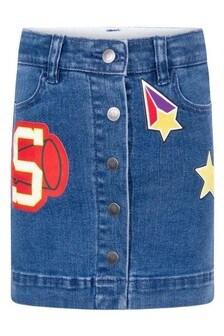 Girls Blue Denim Badges Skirt