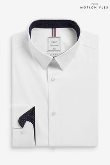 White Skinny Fit Single Cuff Motion Flex Shirt