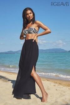 Figleaves Black Malibu Sheer Woven Split Beach Pants