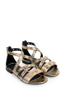 Girls Metallic Gold Leather Sandals