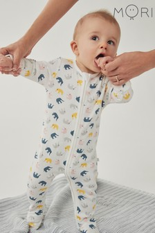MORI Animal Little Elephant Zip-Up Sleepsuit