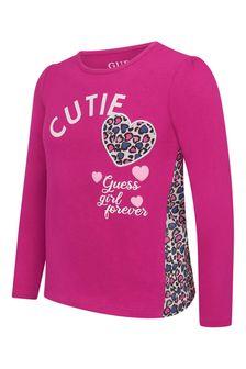 Girls Raspberry Cotton Long Sleeve Hearts T-Shirt