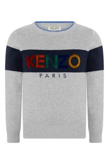 Boys Grey Cotton Knitted Jumper