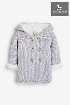 The Little Tailor Grey Baby Plush Lined Pram Coat