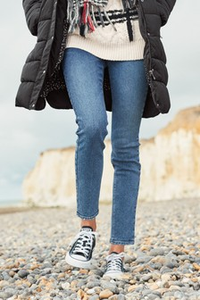 Mid Blue Cosy Relaxed Skinny Jeans