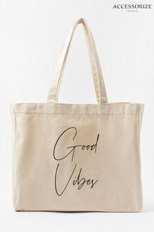 Accessorize Cream Good Vibes Slogan Shopper Bag