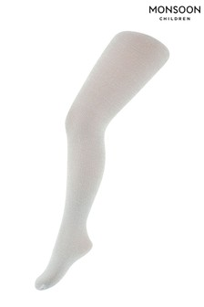 Monsoon Silver Girls Sparkly Nylon Tights